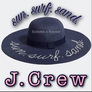 J.Crew Navy Textured Embroidered Straw Beach Hat